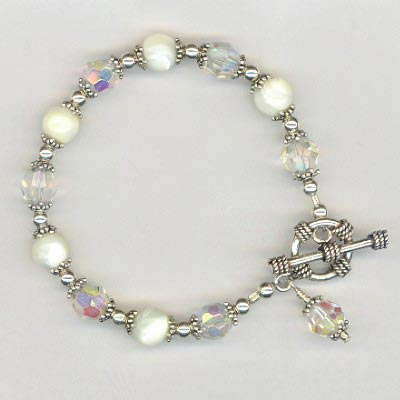 Mother of Pearl Sterling Crystal bracelet