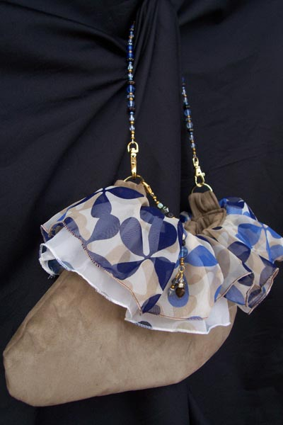 blue tan polka dot purse