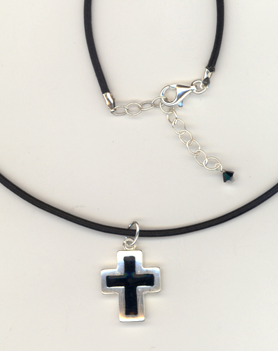 Black Leather Sterling Silver Cross Necklace