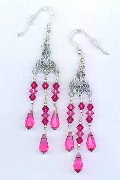 Hot pink chandelier crystal earrings