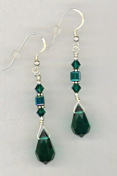 Emerald Pendant crystal earrings