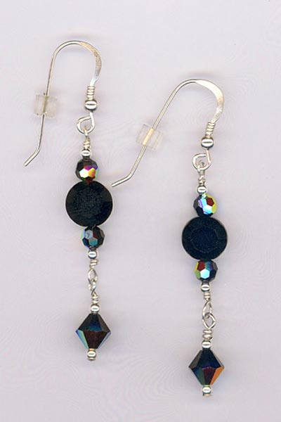 black jet crystal dangle