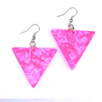 Guitar pick earring Triangle Pearl Pink
