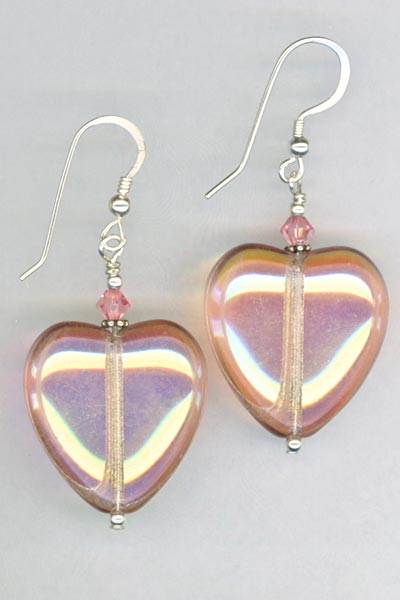 rose Czech large heart earrings
