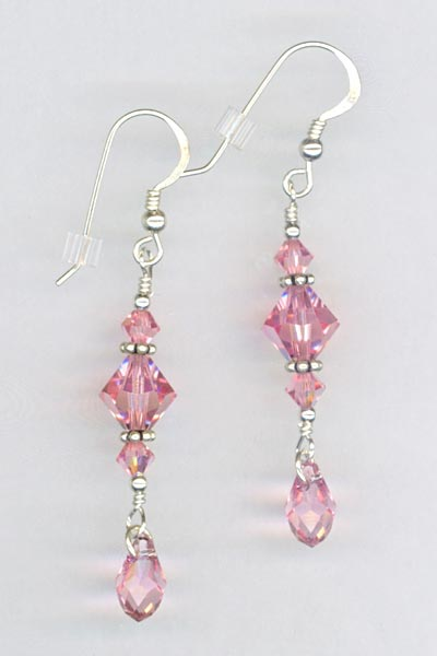lt rose crystal dangle stack earrings