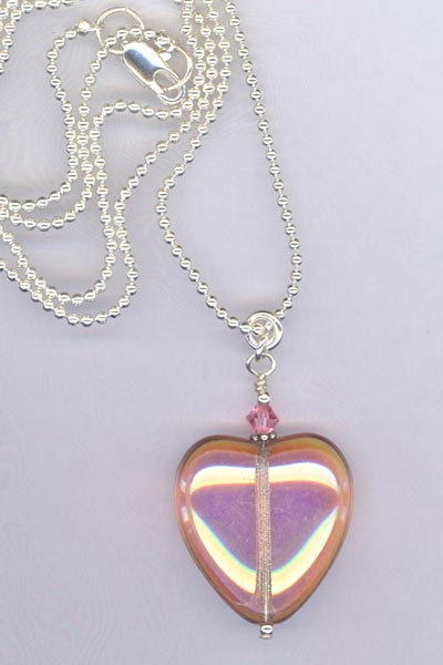 pink czech heart necklace