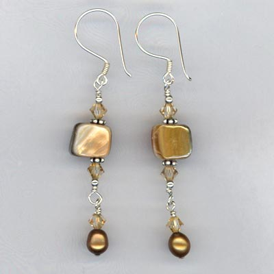 MOP copper crystal dangle earring