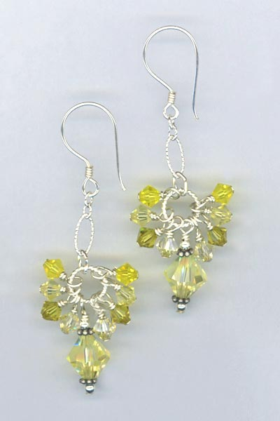 Yellow cascade crystal bali earring