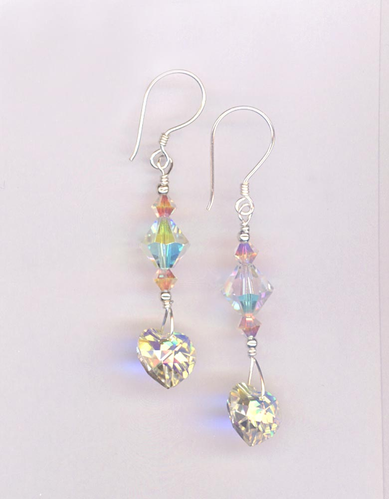 Swar Crystal AB heart dangle stack Bali earrings