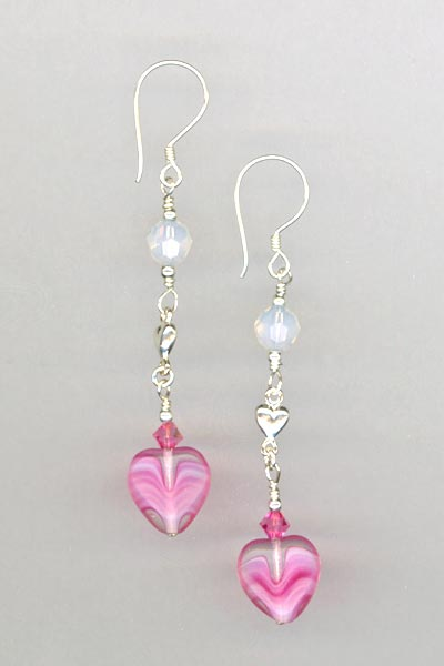 Pink heart crystal drop earring