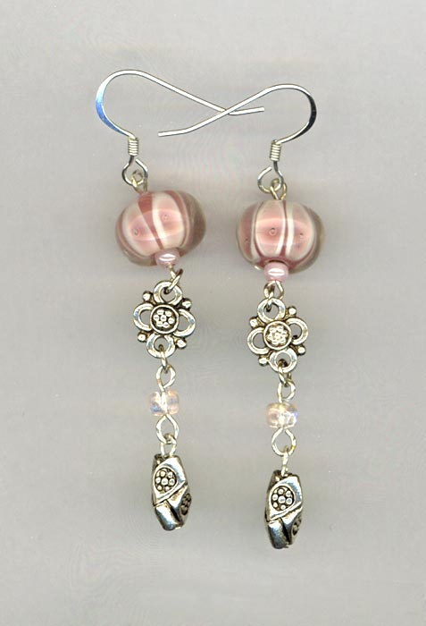 creamy white pink LW silver dangle earrings