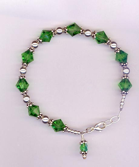 Emerald Green Crystal Sterling Silver Beaded Bracelet