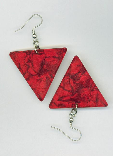 red triangle pick earring