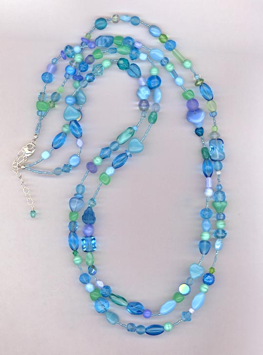 2 strand blue/green necklace