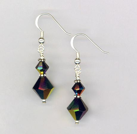 Jet Black Crystal Earrings
