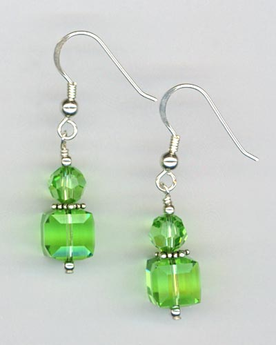 peridot crystal cube stack earring