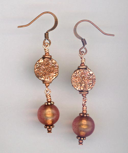 Copper & Pink Italian earrings