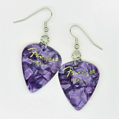 Purple Fender Guitar Pick Earrings
