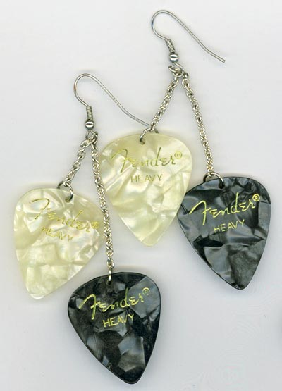 Black & White Pearl Guitar Pick Chandelier Earrings