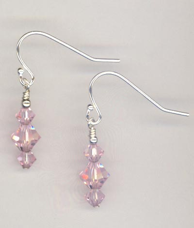 Rosaline Pink Crystal Stack Earrings