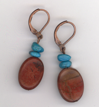 jasper copper turquoise earrings