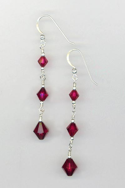 ruby red triple dangle earring
