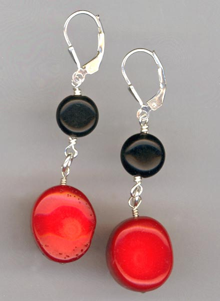 Red Coral Black gemstone earrings