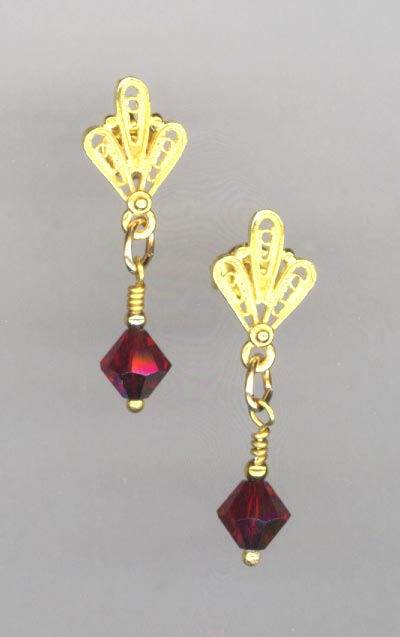 Winter's Delight red crystal gold vermeil earring