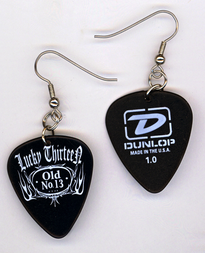 black lucky 13 dunlop gp earrings