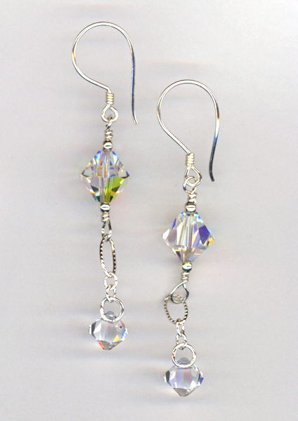 Here comes the bride crystal earrings