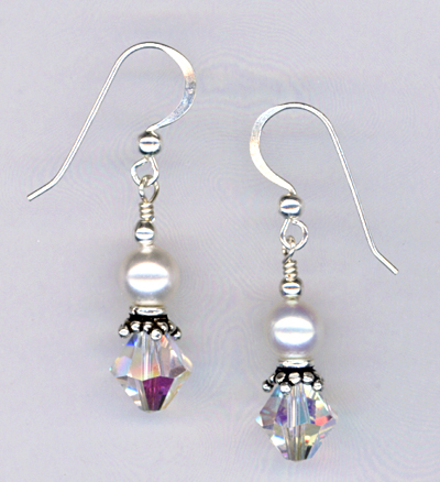 White Pearl Clear Crystal Earrings