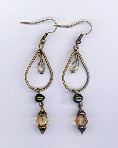 vintage champange earrings