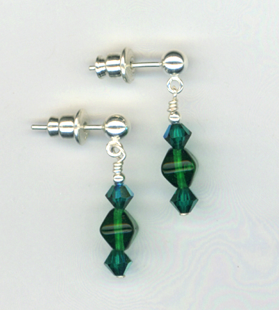 emerald crystal ss post earring