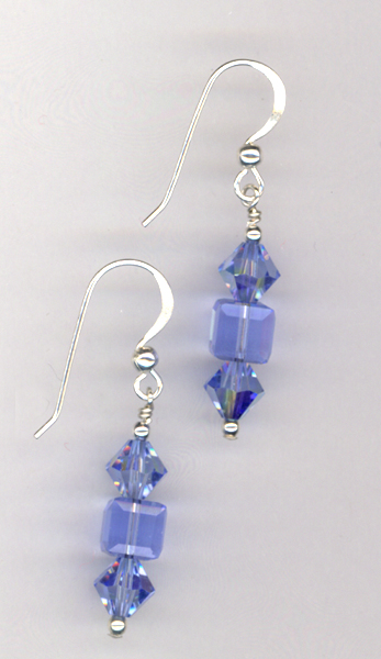 Bridal blue crystal sterling earrings