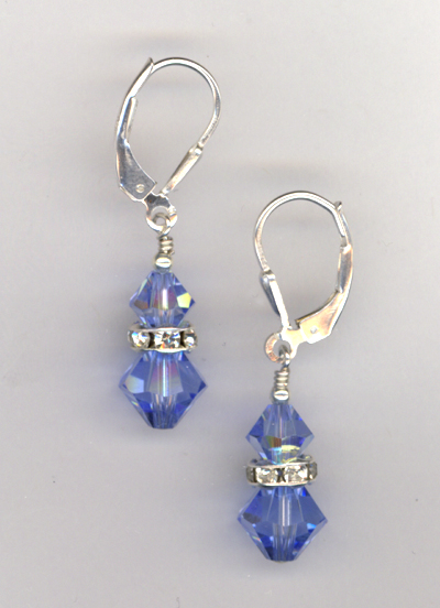 bridal blue ligth sapphire crystal stack earrings