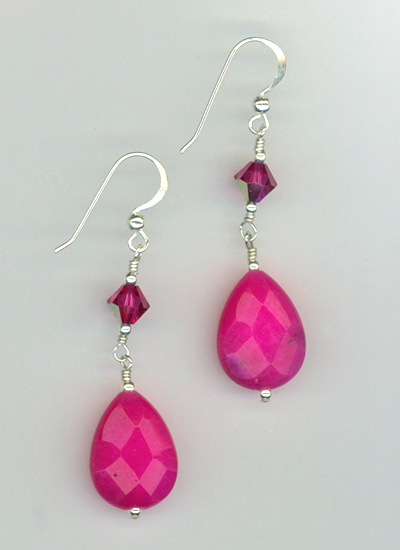 fuchsia jade crystal earrings