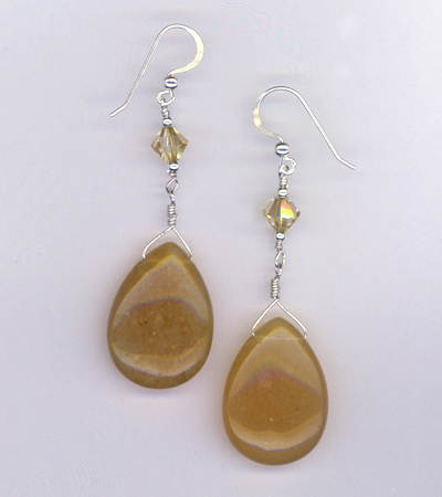 caramel aventurine brioleete earrings