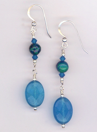 aqua blue jade chryso earrings