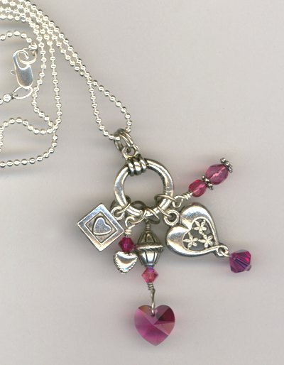 Fuchsia heart charm necklace