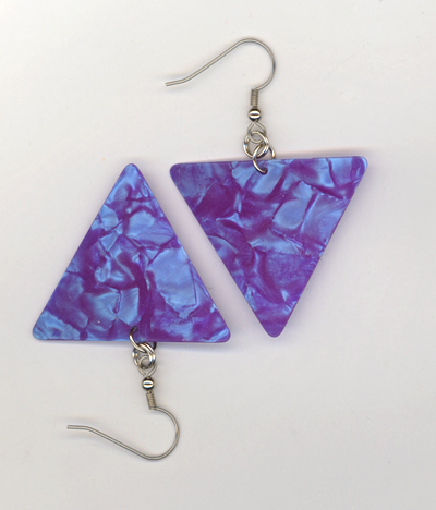 aqua blue traingle guitar pick earrings