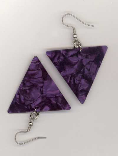purple triangle gp earrings