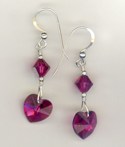 fuchsia heart ab earrings