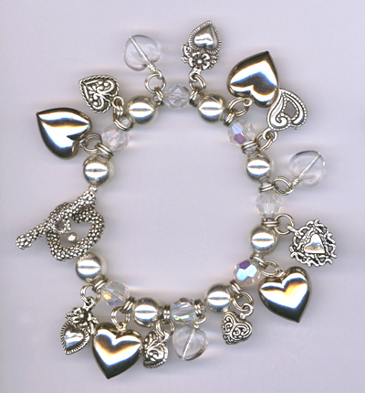 crystal heart charm toggle bracelet