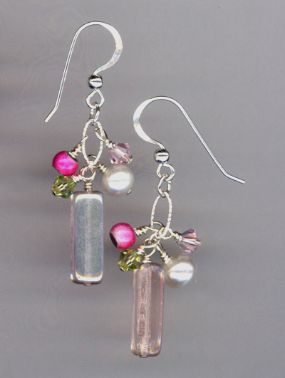 pink peridot ss chain earrings