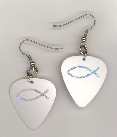 white fish gp earrings