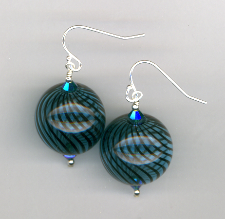 handblown aqua black round earrings