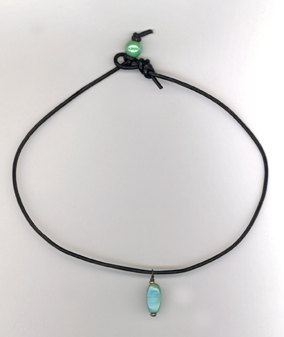blue ceramic bead leather necklace