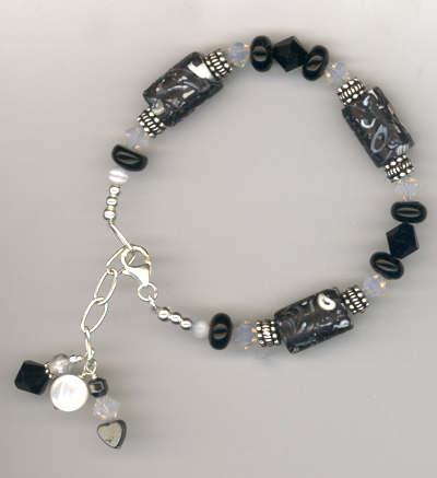 black white mop crystal bracelet