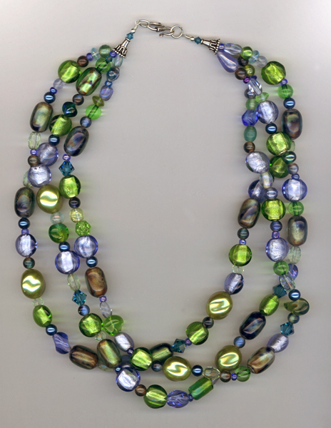 blue green 3 layer necklace