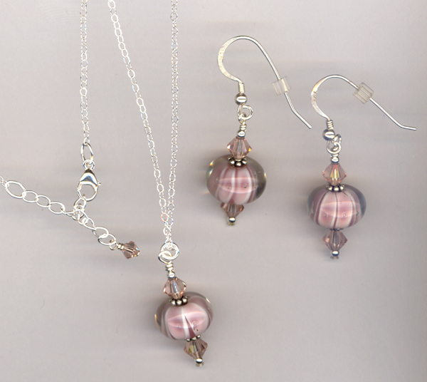 pink white lampwork earrings set